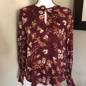 *LUCKY BRAND* Maroon Floral Long Sleeve Tie Neck